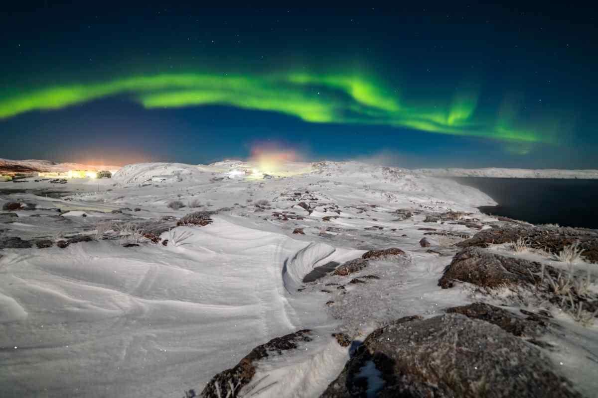 A photo of the Northern Lights above the Arctic on Gondwana Ecotour's Polar Bear Adventure.