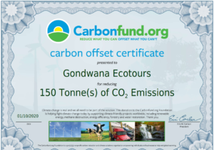 E-Certificate for Gondwana Ecotours from Carbonfund.org for having offset 150 tonnes of carbon emissions