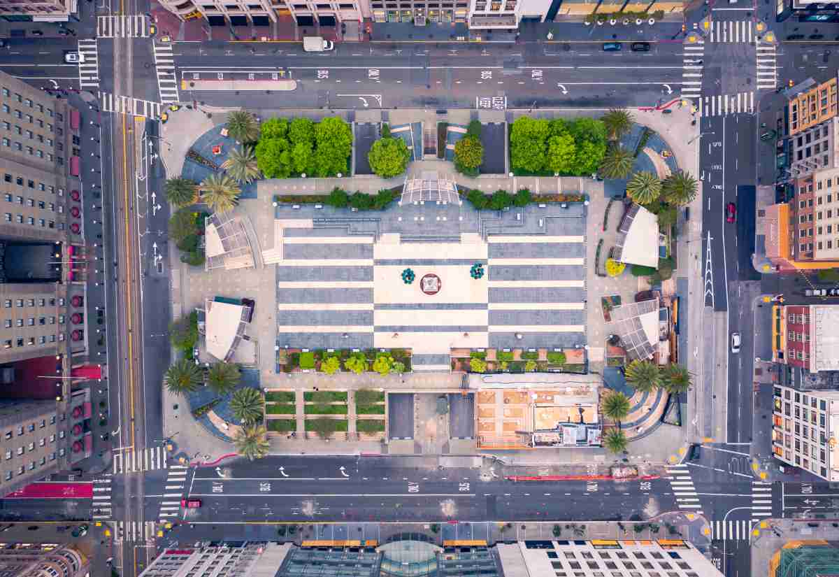 Aerial view of empty San Francisco Union Square during the COVID-19 pandemic lockdown.