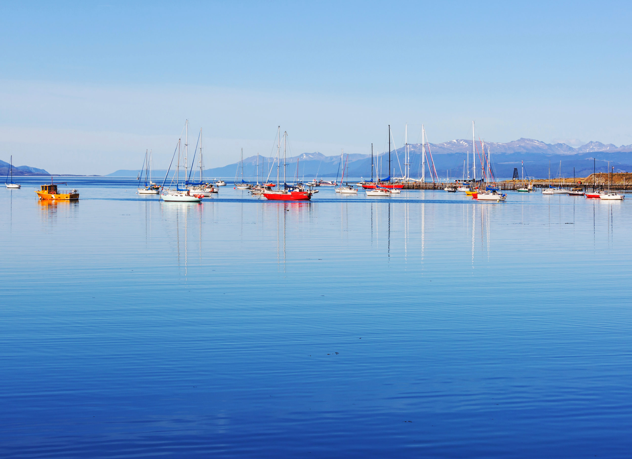 Sunny day in Ushuaia, is the capital of Tierra del Fuego province in Argentina.