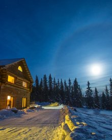 A Taste of Alaska Lodge at Night