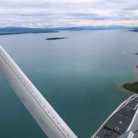 The view from the float plane from King Salmon to Katmailand National Park..