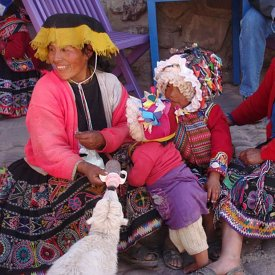 Vibrantly Clad Quechuan Family